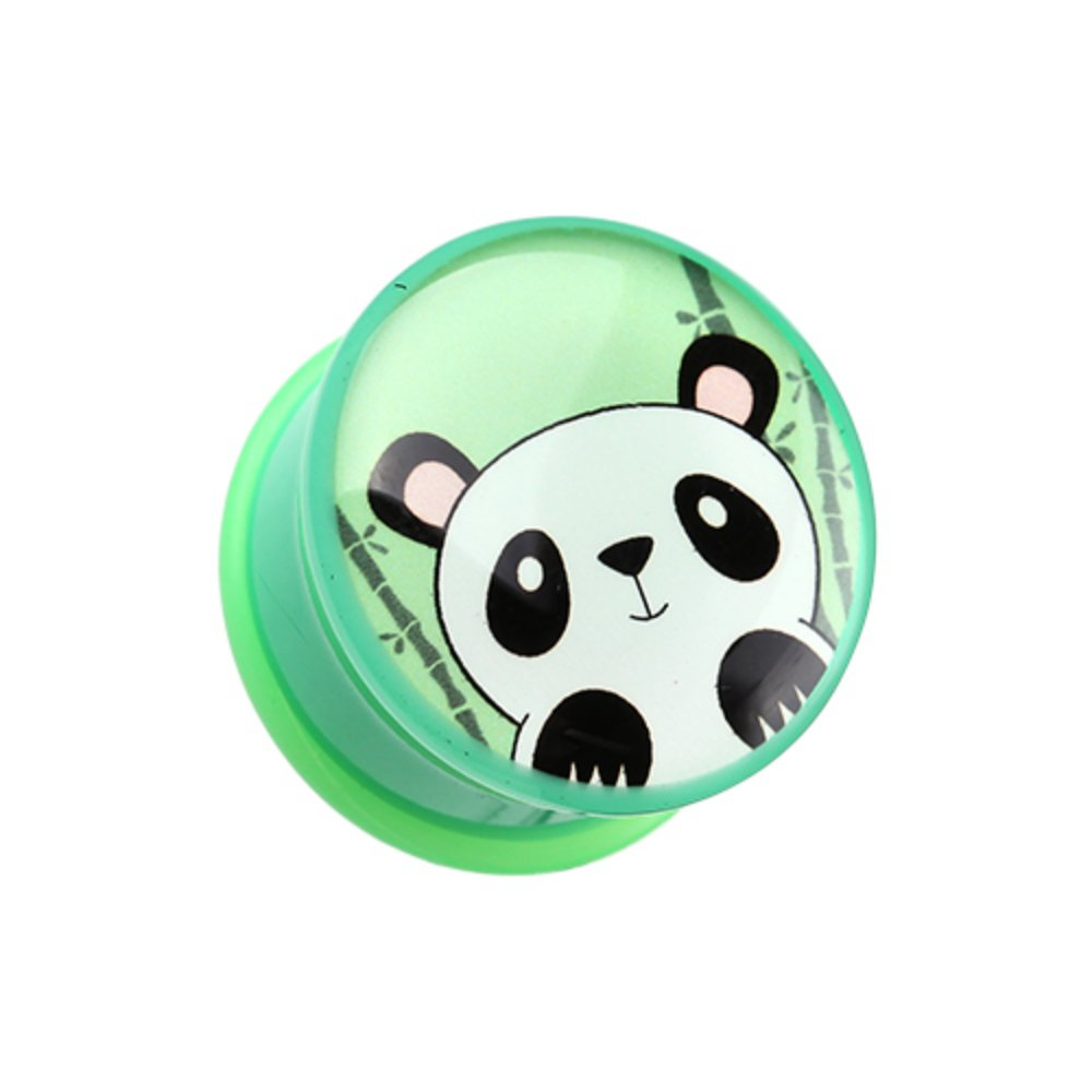 Bamboo Panda Single Flared WildKlass Ear Gauge Plug Sold as Pairs