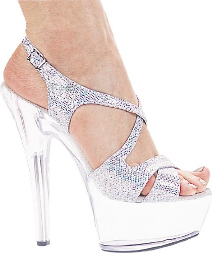 Ellie Shoes Metallic Heels - Ellie Shoes Women's 6 Inch Heel Silver Glitter Strappy Sandal (Silver Glitter;7)