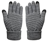 Winter Touch Screen Warm Knitted Gloves Thick Wool Windproof Cold Proof Thermal Mittens (Grey)