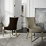 Safavieh Mercer Collection Eva Leather Backed Linen Dining Chair With Trim Nail  Head, Beige