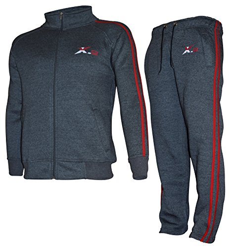 X-2 Mens Athletic Full Zip Fleece Tracksuit Jogging Sweatsuit Char Red-Pipe XXL