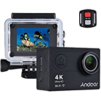 Andoer AN6000 4K 16MP WiFi Action Sports Camera 1080P Ultra HD with Remote Control 2 LCD 170° Wide Angle Lens Support 4X Zoom Diving 40m Slow Motion Drama Photo