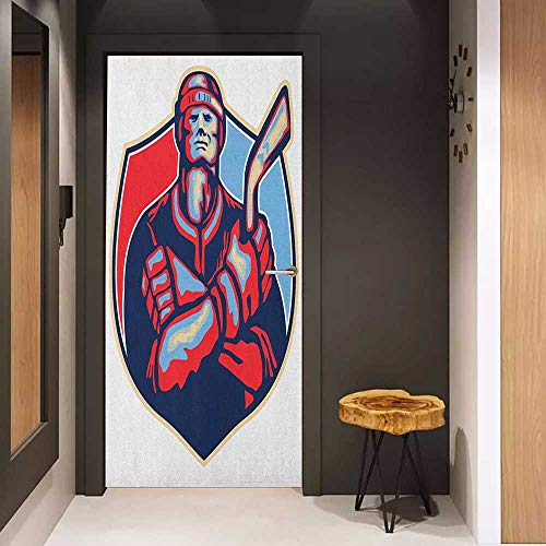 (Onefzc Self-Adhesive Wall Murals Hockey Illustration of an Ice Hockey Player Holding Stick in Retro Style Sticker Removable Door Decal W17.1 x H78.7 Navy and Pale Blue Dark Coral)