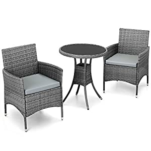vonhaus 3 piece rattan dining set outdoor glass topped table 2 chairs for garden patio grey