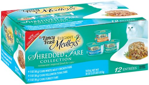 Fancy Feast Elegant Medleys for Cats, Shredded Fare Collection, 3-Ounce Cans (Pack of 24)
