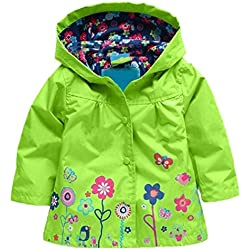 Arshiner Girl Baby Kid Waterproof Hooded Coat Jacket Outwear Raincoat Hoodies, Green, 120 (4-5 yr)