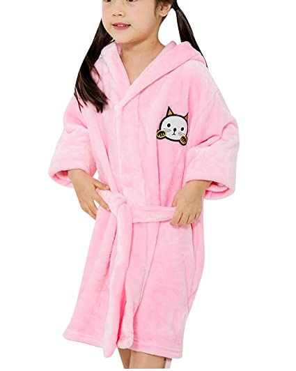QitunC Unisexo Niños Cartoon Espesar Albornoz con Capucha Super Suave Bata Pijama De Franela Pink 100