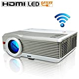 EUG Support 1080p Multimedia LED Wifi 4200 Lumens LCD Full Hd Projector Wireless, Cinema Theater Projector, for Business Education Pc Laptop Ipad Iphone Phone Hdmi USB VGA Tv Port, Movie Game Effect Built-in Android System and Speakers