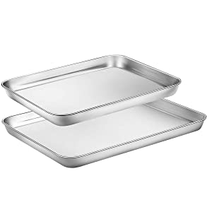 HEAHYSI Mini Stainless Steel Baking Sheets,Small Cookie Sheets, Toaster Oven Tray Pan Rectangle Size By HEAHYSI , Non Toxic & Healthy,Superior Mirror Finish & Easy Clean, Dishwasher Safe