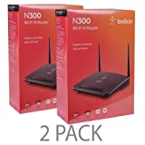 Belkin 2-Pack N300 Wi-Fi 4-Port Wireless Router with 2 Antennas F9K1010 300Mbps