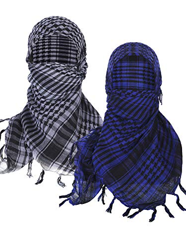 Boao 2 Pieces Keffiyeh Shemagh Arab Scarf Wrap Tactical Desert Scarf Cotton Head Wrap (Color Set 3)