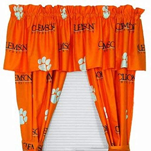 Clemson Tigers - (1) Printed Curtain Valance/Drape Set (Drape Length 63 Inches) to Decorate One Window - NCAA College Licensed Window Treatment