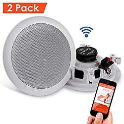Pyle Pair 6 5� Bluetooth Flush Mount In Wall In Ceiling 2 Way Universal Home Speaker System Spring Loaded Quick Connections Polypropylene Cone Polymer Tweeter Stereo Sound 200 Watts Pdicbt652rd