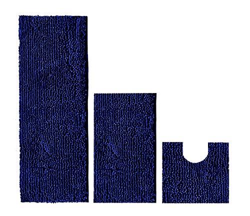 Madeals 21 x 54 Inches Long Bath Rug for Bathroom Runner Rug Non Slip Shag Chenille Bathroom Rug Set 2 Piece and U Shaped Toilet Rug Navy Blue - Navy Blue Chenille