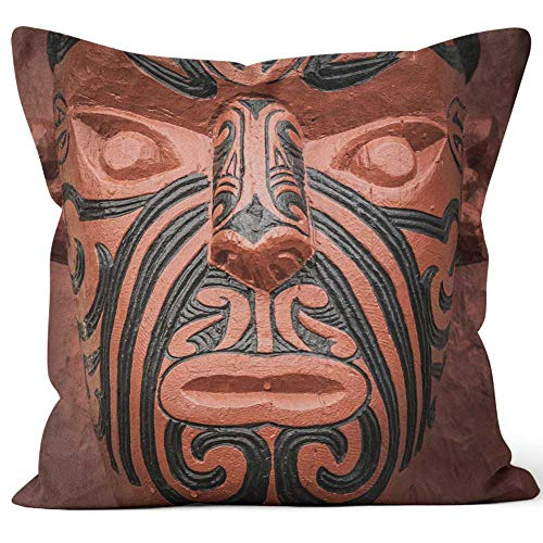 Nine City Maori Carving Throw Pillow Cover,HD Printing for Sofa Couch Car Bedroom Living Room D¨¦cor,18