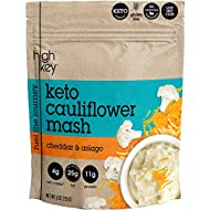 HighKey Snacks Low Carb Keto Food High Protein Cauliflower Mash - Instant Rice or Potatoes Substitute - No Added Sugar, Gluten Free, Savory Products - Diabetic, Atkins & Healthy Diet Foods - Asiago