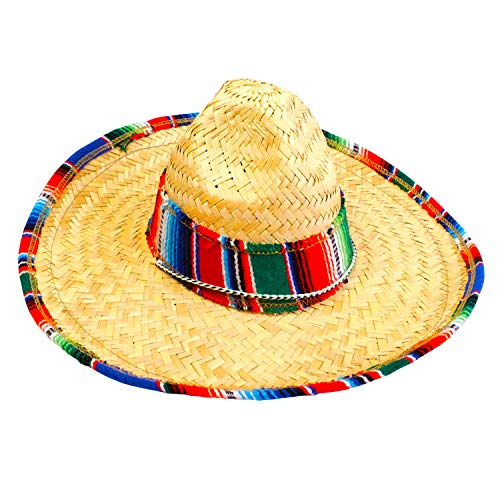 GiftExpress Child Sombrero Hat with Serape Trim, Cinco de Mayo Straw Hat