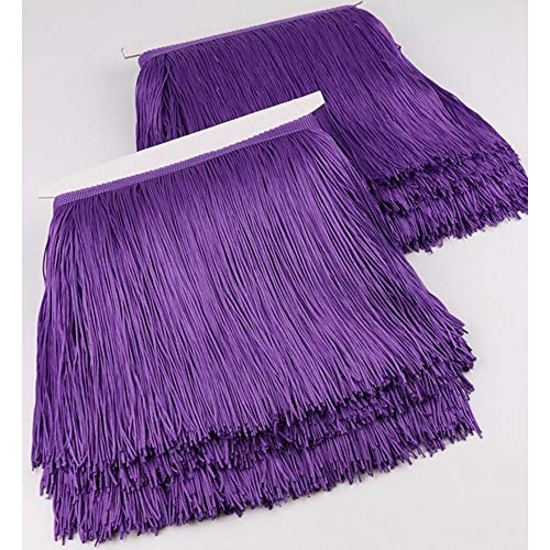Fringe Trim Lace Polyerter Fibre Tassel 8inch Wide 10 Yards Long for Clothes Accessories Latin Wedding Dress DIY Lamp Shade Decoration Black White Gold Red Purple