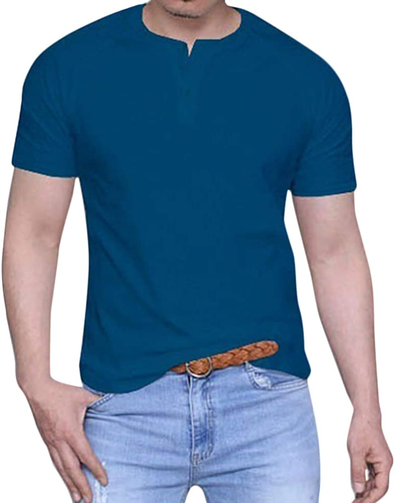 Minetom Camisetas Hombre Casual Cuello Redondo Manga Corta Blusa Top Color Sólido Slim Fit Camisa Básica Deportiva Fitness T-Shirt Azul XS: Amazon.es: Ropa y accesorios