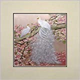 King Silk Art 100% Handmade Embroidery Unframed Two White Peacocks And Pink Plum Blossom Oriental Wall Hanging Art Asian Decoration Tapestry Artwork Picture Gifts 31119W