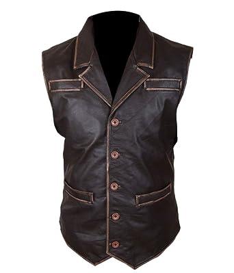9e1ea71a92e20 F H Men s Hell On Wheels Cullen Bohannan Distressed Cowhide Leather Vest  2XL Brown