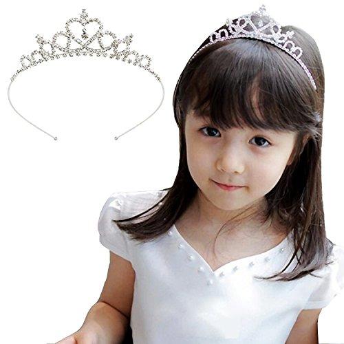 Acecharming Girls Crystal Tiara Crown Headband for Flower Bridesmaid (Silver)