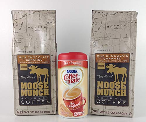 Harry And David Moose Munch Gourmet Ground Coffee 12 oz Bag + Coffee-Mate Original Non-Dairy Powder Coffee Creamer 6 oz. Canister (Milk Chocolate Caramel)
