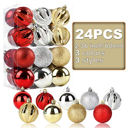 """OurWarm 24pcs 2.36"""" Assorted Christmas Ball Ornaments Shatterproof Christmas Decorations Tree Balls for Holiday Xmas Tree Decorations, Tree Ornaments Hooks Included (Gold/Red/Silver)"""