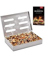Räucherphorie Pudełko wędzarnicze – ze stali nierdzewnej do wędzenia o szczególnym aromacie grilla – nadaje się do grilla węglowego, kulistego i gazowego – akcesoria do grilla premium (RB1)