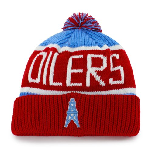 "Tennessee Titans Houston Oilers Vintage ""Calgary"" Beanie Hat with Pom - NFL Cuffed Winter Knit Toque Cap"