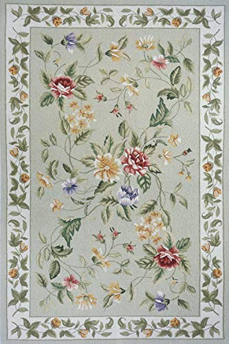 Momeni Rugs SPENCSP-16SAG2030 Spencer Collection, 100% Wool Hand Hooked Traditional Area Rug, 2' x 3', Sage 3' Hand Hooked Wool Rug