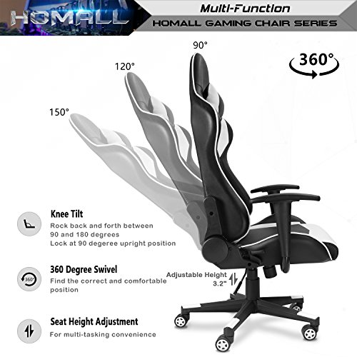Homall Gaming Chair Racing Style High Back Faux Leather Office Chair Computer Desk
