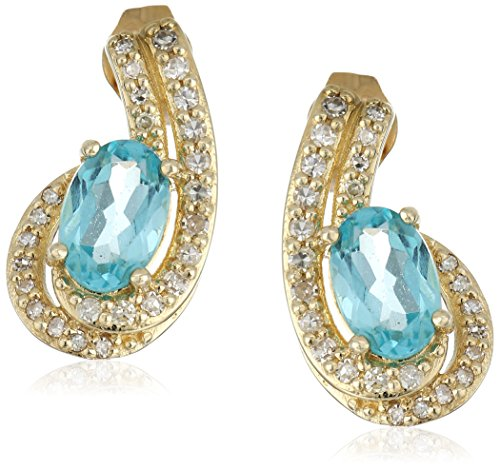 10k Yellow Gold Oval Shaped Apatite with Diamond Accent Semi Precious Stud Earrings (1/5cttw, I-J Color, I2-I3 (Gold Oval Shaped Accent)