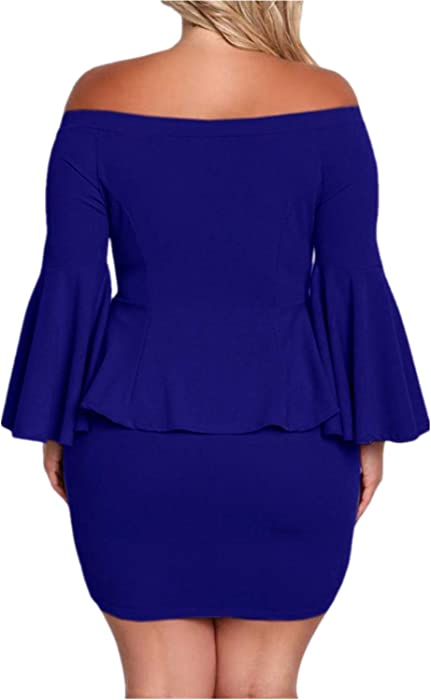 33de3a5d6cce Jeanewpole1 Women Off The Shoulder Peplum Dresses Plus Size Bell Sleeve  Sexy Party Short Dresses Blue. Back. Double-tap to zoom