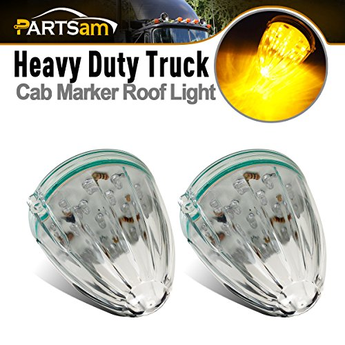 Partsam 2x Torpedo Cab Marker Lights Clear/Amber 17 LED Replacement Lens for Kenworth Peterbilt Freightliner Mack (Replacement Peterbilt)