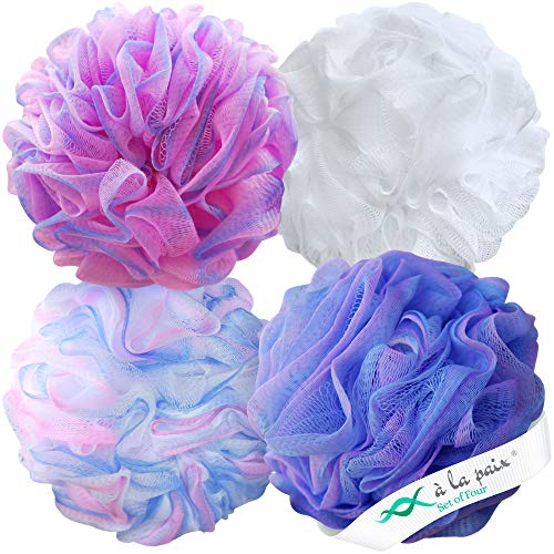 Loofah Bath Sponge XL 75g Set of 4 Pastel Colors by À La Paix - Soft Exfoliating Shower Lufa for Silky Skin - Long-Handle Mesh Body Poufs- Women and Men's Luffas - Soft Texture - Full Cleanse & Lather