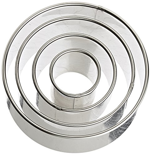 Ateco 1440 Plain Edge Round Cutters in Graduated Sizes, Stainless Steel, 4 Pc Set Round Cookie Cutter Set
