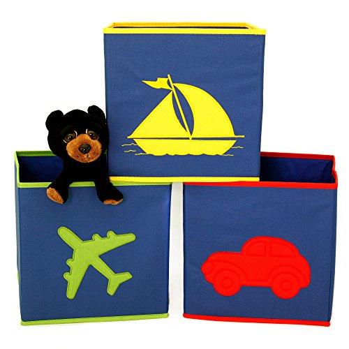 Boys Cube Storage Bins Toy Organizers Car Airplane Boat Design - 3 Pieces