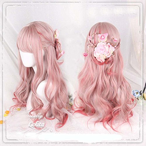 [Jooyi 65cm Japan Harajuku Anime Fashion Lolita Two Tone Pink Ombre Curly Wig Lace Front Korean Style Make The Face Look Smaller Hair] (Lavender Marie Antoinette Wig)