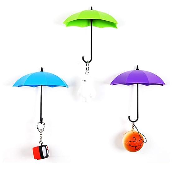TrifyCore 3 PCS extraíble Paraguas de Colores en Forma de colgadores de Pared autoadhesiva de Almacenamiento