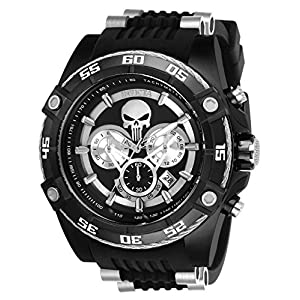 Invicta Men's Marvel Stainless Steel Quartz Watch with Silicone Strap, Black, 26 (Model: 26859)