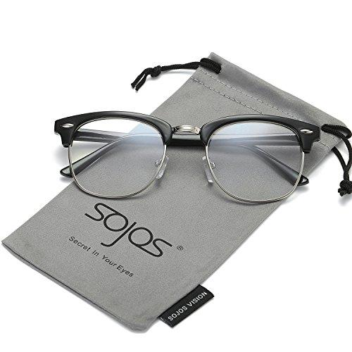 SojoS Clubmaster Semi Rimless Polarized Sunglasses Clear Lens Eyeglasses SJ5018 With Bright Black Frame/Silver - Prescription Glasses Frames No