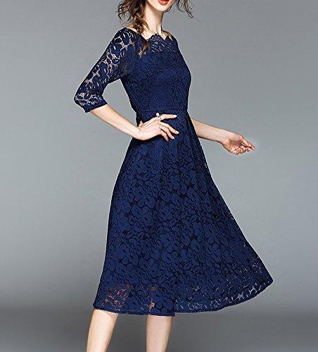 DISSA Damen Blau Midi Spitze 4 Reine YL25609 Kleider Linie Hohl 3 Kleid Cocktailkleid A Arm Partykleid xw5r1qxAZ