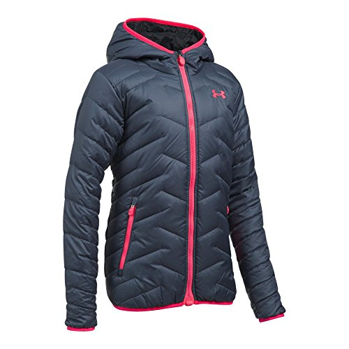 Under Armour Girls' ColdGear Reactor Hooded Jacket, Apollo Gray/Black, Youth X-Large by Under Armour