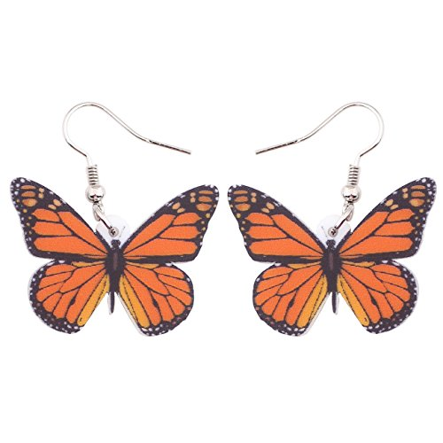 (Bonsny Drop Dangle Big Monarch Butterfly Earrings Fashion Insect Jewelry For Women Girls Teens Gifts )