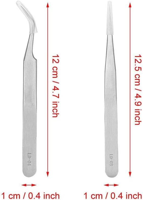 Acero inoxidable pinzas para pesta/ñas Extensiones Kit recto y curvo punta pinzas para Classic y ruso volumen lash3d 6d Vetus pinzas