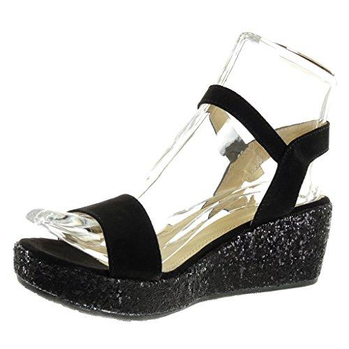 Angkorly - Zapatillas de Moda Sandalias Mules zapatillas de plataforma mujer tanga brillante brillantes Talón Plataforma 6 CM - Negro