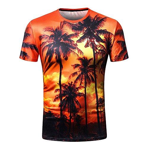 (Coconut Palms T-Shirt Sunlight Tops Beach Hawaiian Tees Men's T-Shirt 3d Men's Hip Hop T-Shirt)