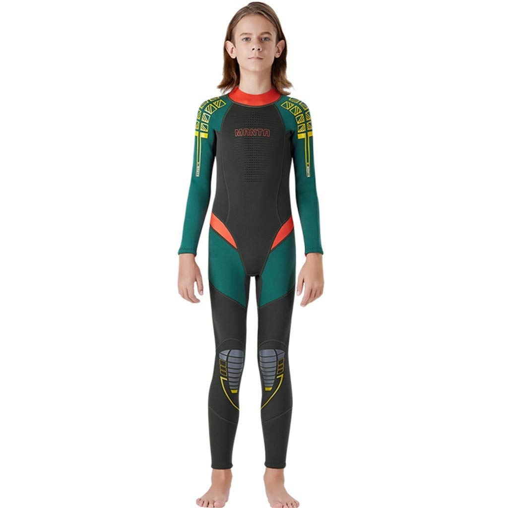 Kids Scuba One-Piece Diving Suit Neoprene Snorkeling Wetsuit Surfing Swimwear Army Green