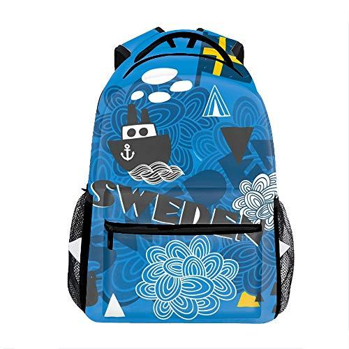 Lightweight Cool Sweden Backpacks Girls School Bags Kids Bookbags